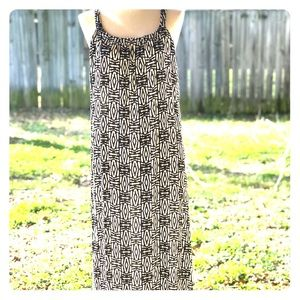 Black and white spaghetti strap maxi dress